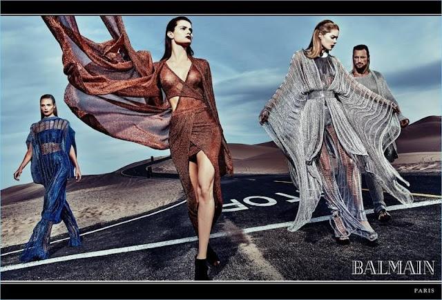 Gabriel Aubrey, Natasha Poly, Doutzen Kroez and Isabeli Fontana for BALMAIN SS17 by Steven Klein