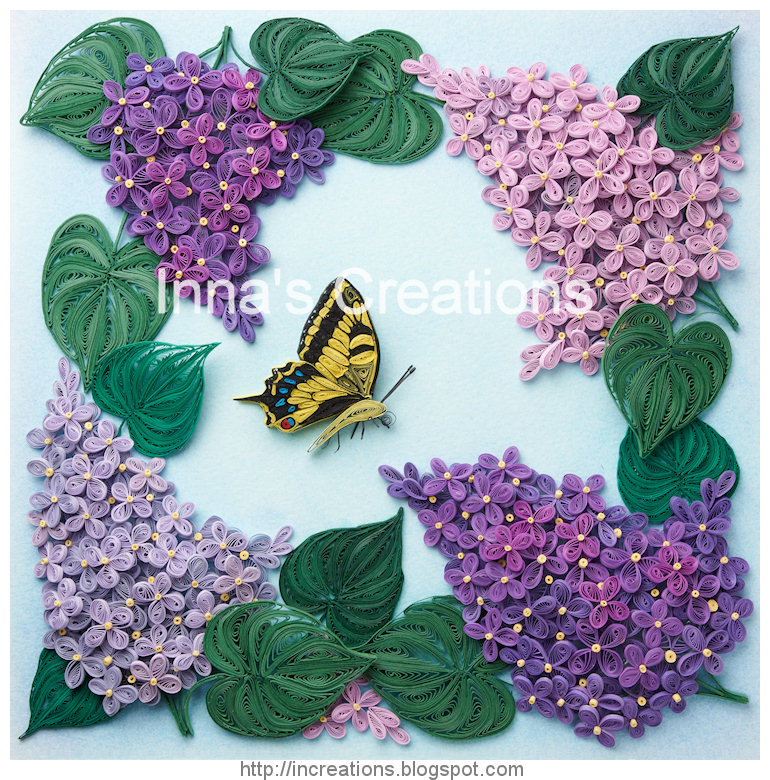 Innas creations lilac flowers and butterfly framed paper quilling lilac and swallowtail quilling picture mightylinksfo