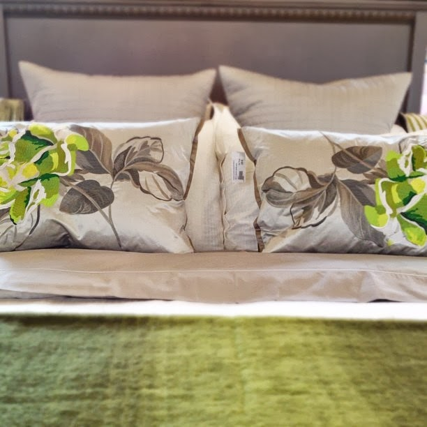modern grey and green floral print cushions and bedding
