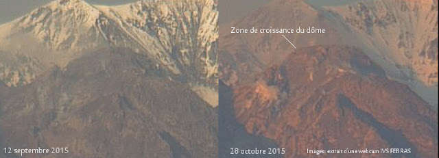 Modification du dôme de lave du volcan Sheveluch, 28 octobre 2015