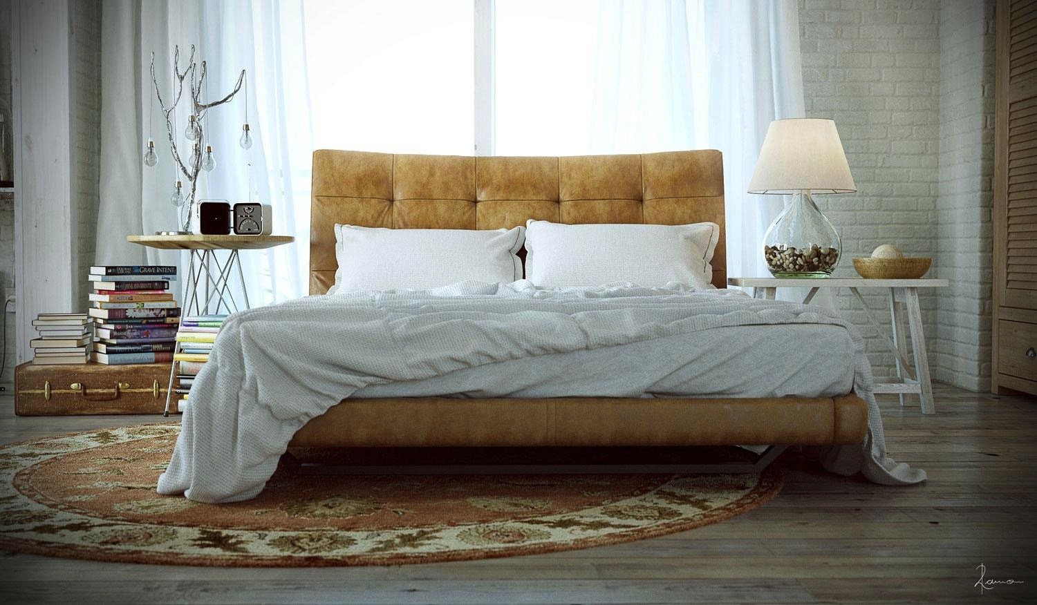 Leather Bed Takes Center Stage Picked Out By A Circular Persian Rug