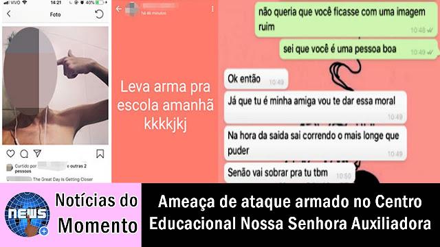 Ameaça de ataque ao Centro Educacional Nossa Senhora Auxiliadora virou caso de polícia em Campos, RJ.
