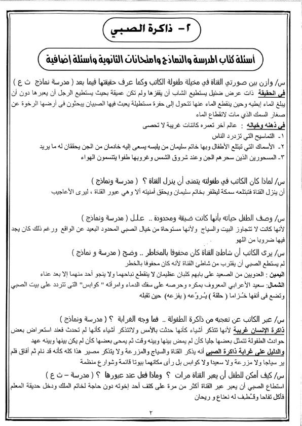 """المراجعة النهائية وجميع الاسئلة المتوقعه لفروع مادة اللغة العربية للصف الثالث الثانوي """" النحو - النصوص - القراءة - التعبير - القصة """""""