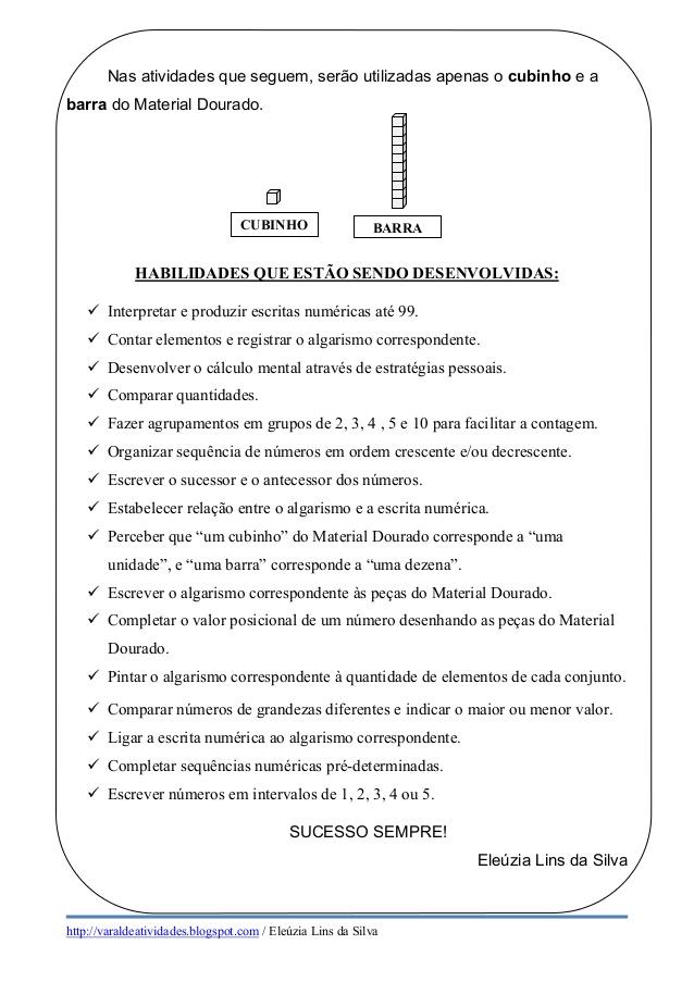 ATIVIDADES COM MATERIAL DOURADO 2 ANO PARA IMPRIMIR