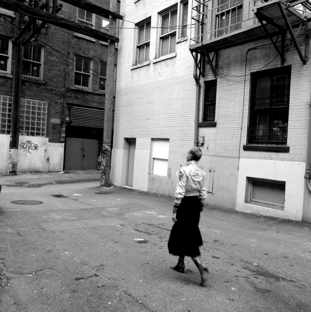 Mel Kobayashi strolling in her little black and white world