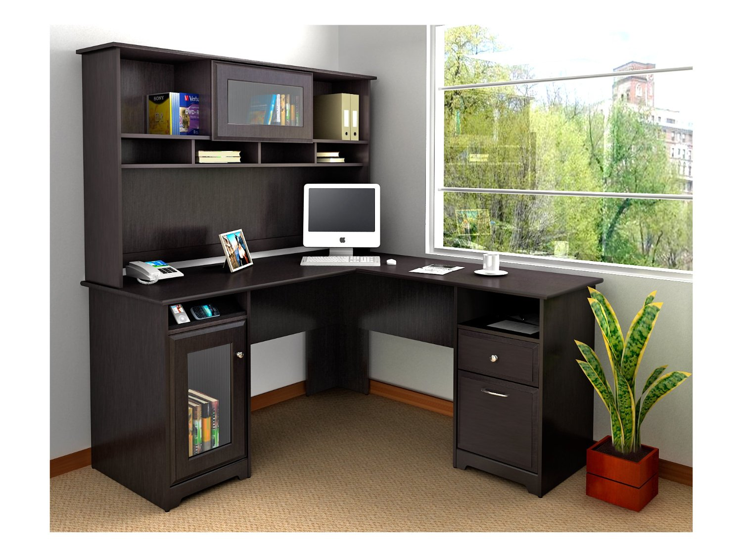 White  Black LShaped Computer Desks with Hutch