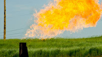 Natural gas flaring in North Dakota. (Credit: Tim Evanson/Flickr) Click to Enlarge.