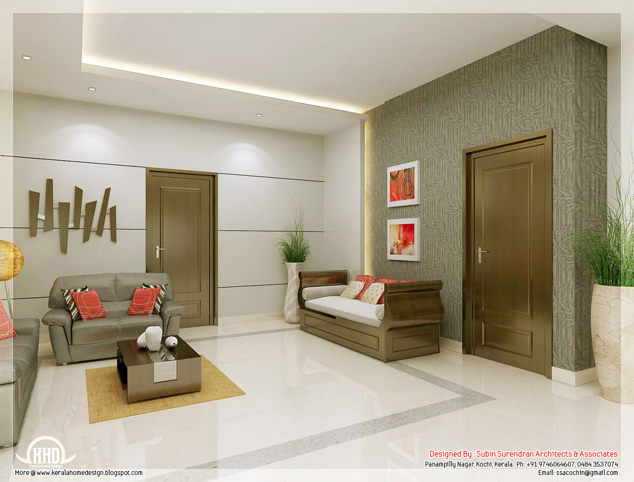 Awesome 3d interior renderings kerala home design and for Simple drawing room interior design