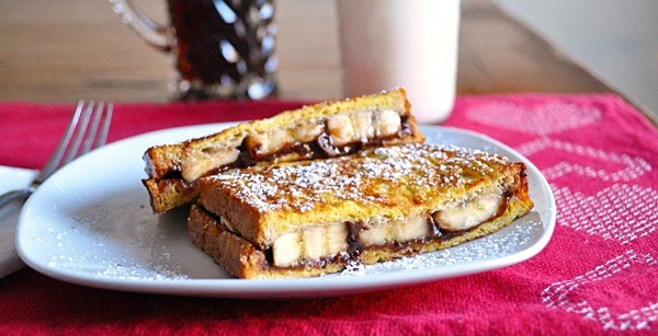 Skinny Nutella- Banana French Toast Sandwich