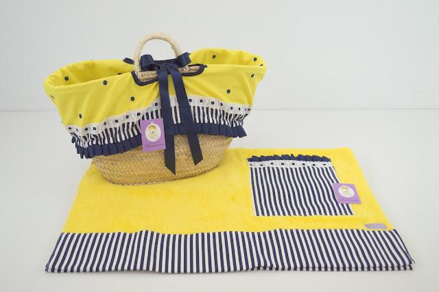 Capazo mimbre toalla playa amarillo  marinero