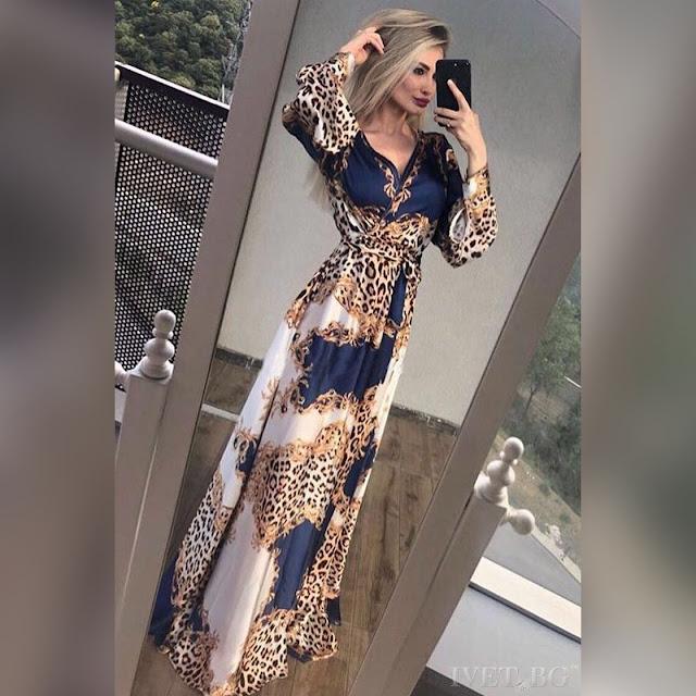 Εντυπωσιακό  μάξι χρωματιστό φόρεμα LEONA