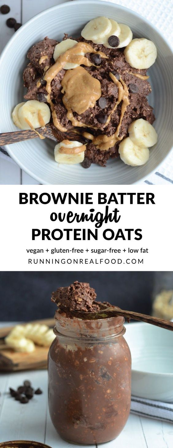 These thick brownie batter overnight protein oats are like eating dessert for breakfast. Spend just a few minutes to prep the night before and in the morning, you'll be ready to dig into a bowl of brownie batter! Top with banana, peanut butter and chocolate chips for an extra decadent treat