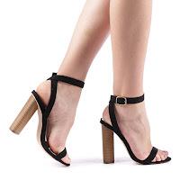 Sandale dama negre cu toc gros inalt din piele intoarsa