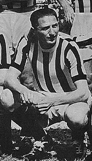 Piola pictured in his days playing for Juventus after the war.