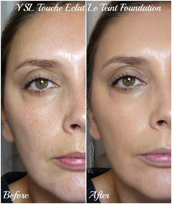 Before-After picture using Yves Saint Laurent Touche Eclat Le Teint foundation