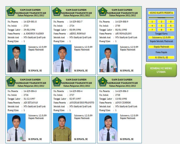 Download Aplikasi Cetak Kartu Ujian Siswa Dilengkapi Foto