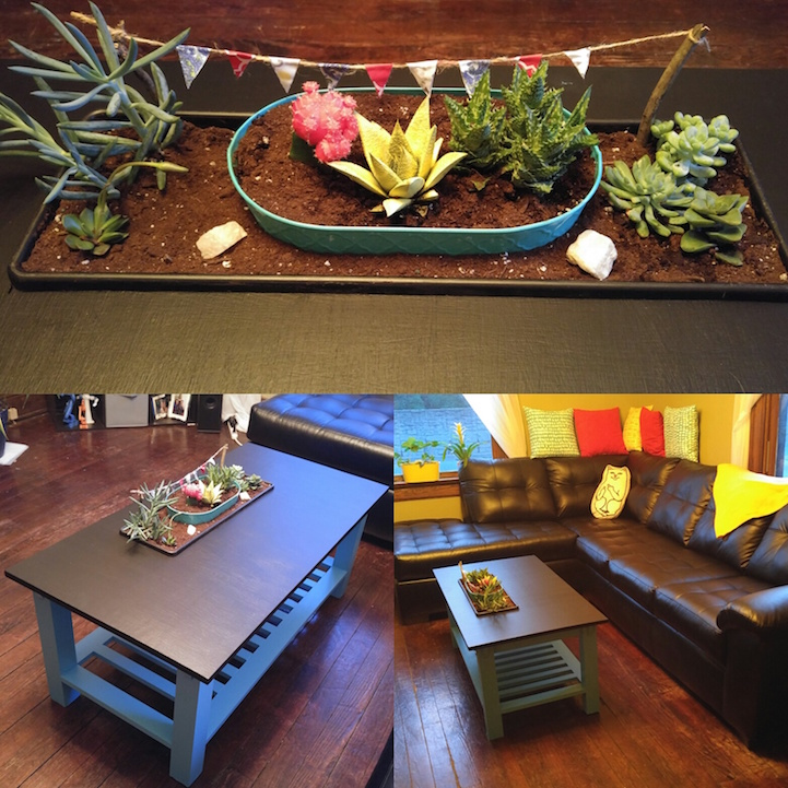 Amazing Creativity Diy Coffee Table Has A Colorful Planter Cleverly Built Into Its Surface