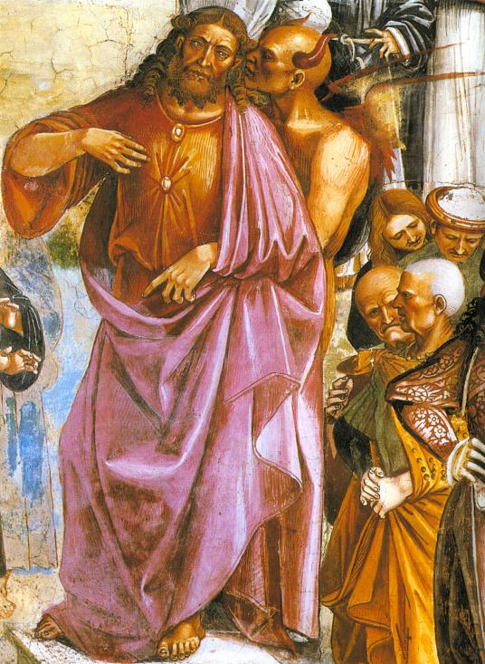 O Anticristo recebe as instruções de Lúcifer. Luca Signorelli (1445 - 1523), basílica de Orvieto, Itália