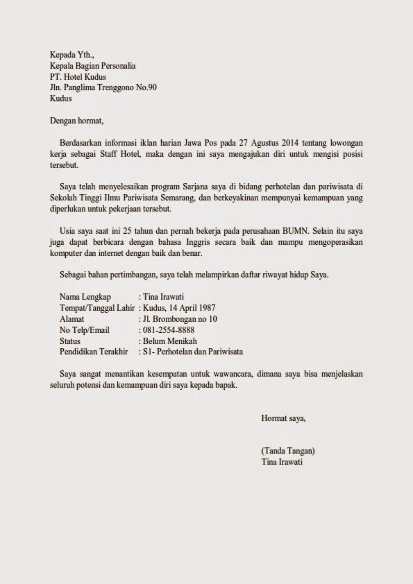 Contoh Surat Lamaran Kerja Di Hotel Terbaru Guild Jobs