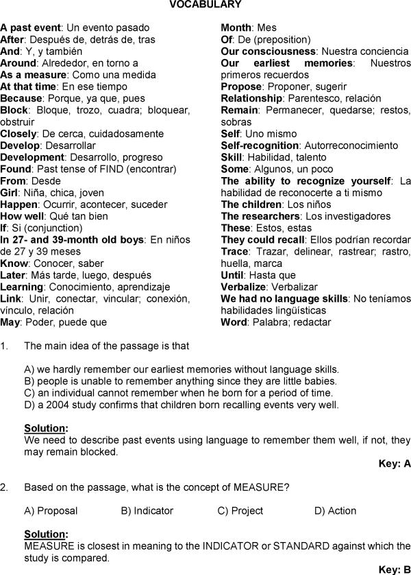 Comprension De Textos En Inglés En Razonamiento Verbal De Examen Resuelto