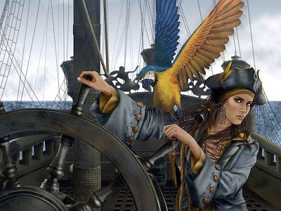 Mujeres piratas. Dibujo de mujer pirata, con cicatriz y loro, manejando el timón de un barco