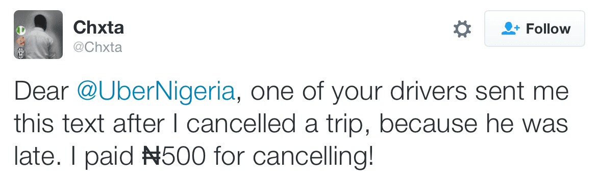 See ridiculous text message Uber Nigeria driver sent guy because he cancelled trip