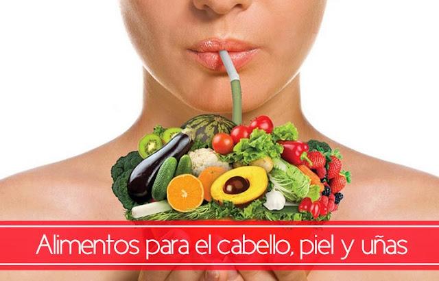 Alimentos para la piel uñas y cabellos