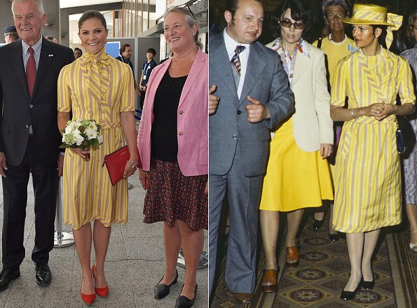The dress worn by Crown Princess Victoria is an old dress of her mother Queen Silvia. She wore that dress at a state visit to Soviet Union