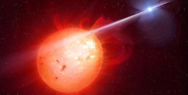 This is AR Scorpii, the first discovered white dwarf pulsar. Credit: Mark Garlick/University of Warwick