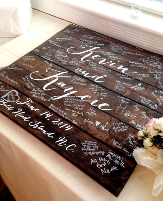 Custom wood vintage fall wedding guestbook sign
