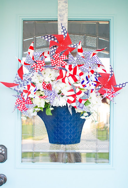 pinwheel bouquet door decor 4th of July DIY