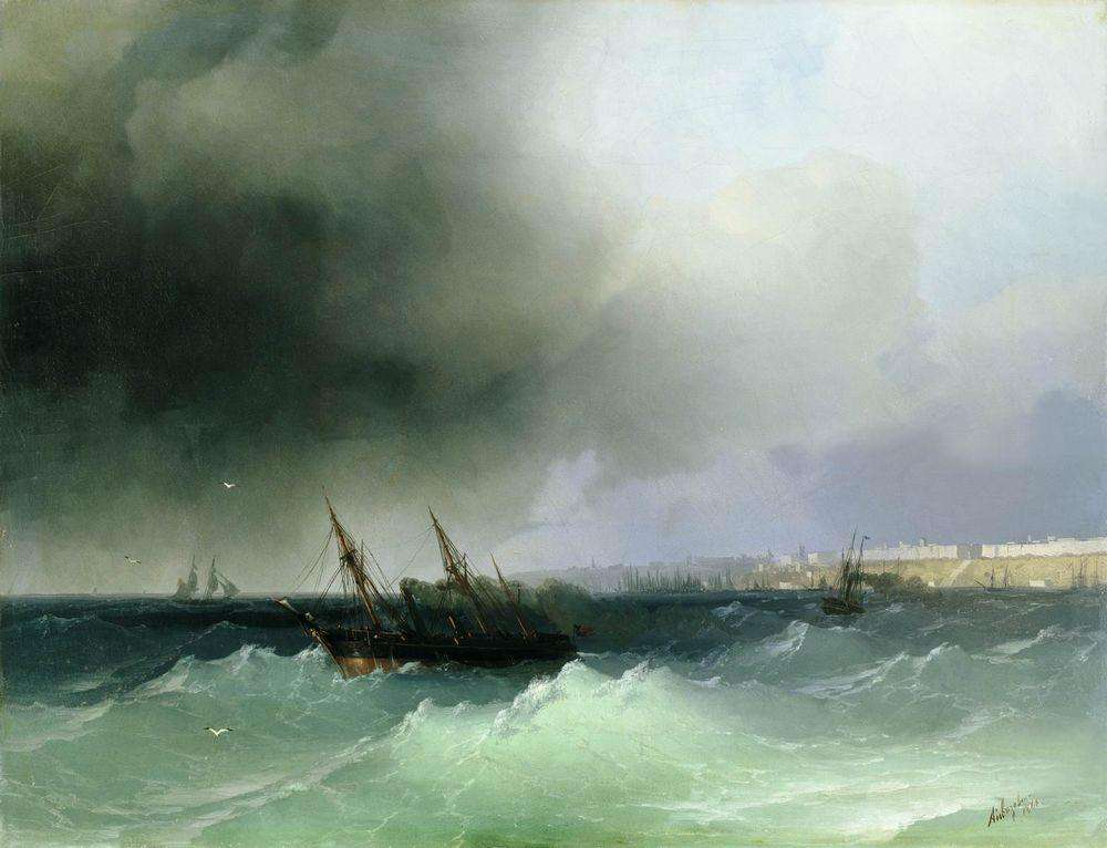 15-View-of-Odessa-1865-Ivan-K-Aivazovsky-Иван-К-Айвазовский-Paintings-of-the-Sea-from-1840-to-1900-www-designstack-co