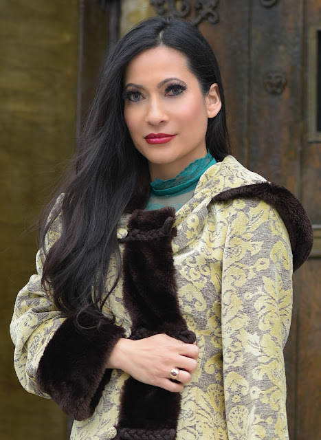 yellow gold and brown faux fur coat floral cloak Joanna Joy A Stylish Love Story Fashion Blog Petite Blogger cosplay medieval green dress