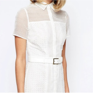 Lost Ink white lace t-shirt dress with matching belt