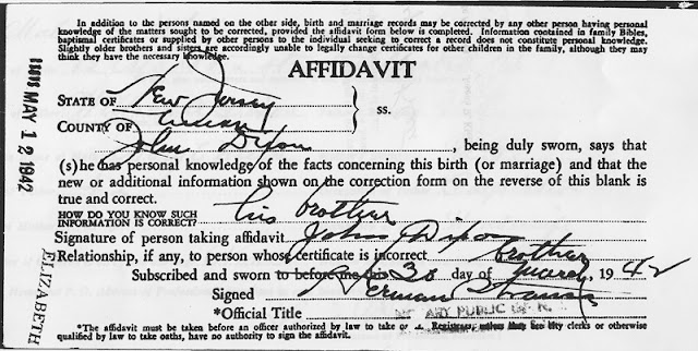 Affidavit signed by brother, John Dixon, showing his personal knowledge of Wallace Bernard Dixon's correct name.