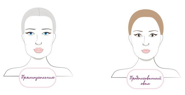 Форма лица продолговатое или Прямоугольник