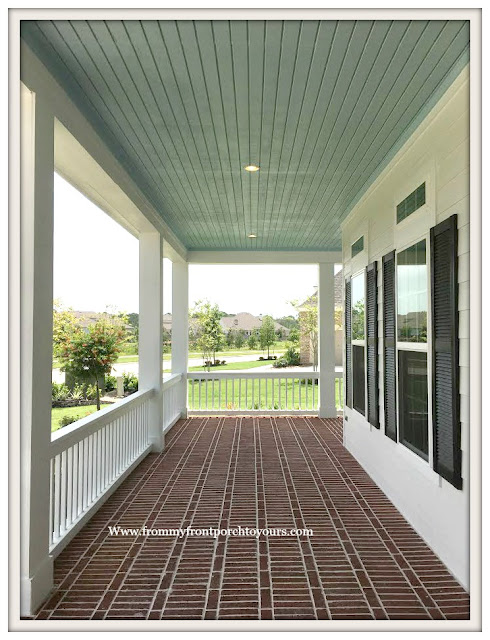 New Construction-Open House-Southern Style-Home-FRont Porch-Haint Blue Porch Ceiling-From My Front Porch To Yours