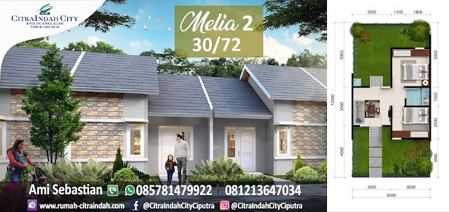 Model dan Denah Rumah MELIA 2 - 30/72 Citra Indah City
