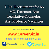 UPSC Recruitment for 66 MO, Foreman, Asst Legislative Counselor, Asst Professor Vacancies