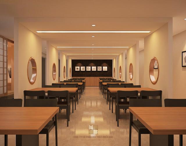 Ấn tượng ban đầu về không gian phòng ăn lớn trong mẫu thiết kế nội thất nhà hàng chuyên nghiệp này có lẽ chính là phong cách bố trí nội thất khoa học, gọn gàng