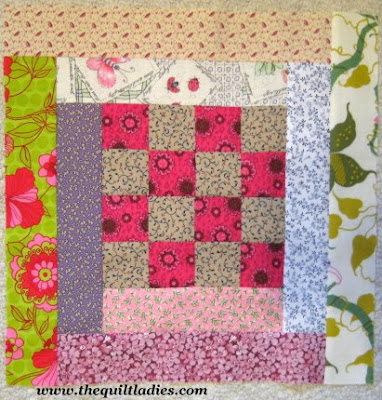 Fifty-Two Weeks of Quilt Pattern Block, this is Four Patch Log Cabin Block
