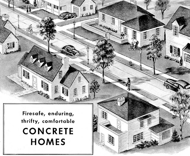 1947 birdseye view of suburbs concrete homes