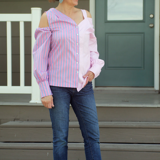 McCall's 7724 Cold shoulder top made from Mood Fabrics' cotton shirtings