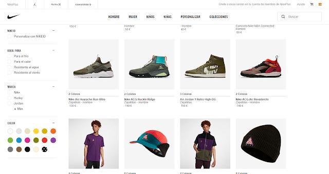 pagina para comprar la ropa para hombre en el oirtal de Nike