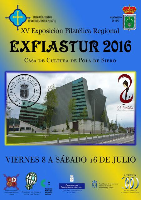 Cartel de Exfiastur 2016, Exposición filatélica en Pola de Siero