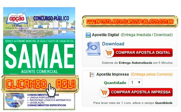 Apostila Concurso SAMAE 2017 Agente Comercial PDF Impressa