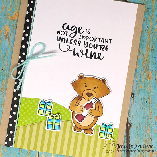 A birthday card with Wine by Jennifer Jackson | Sending Hugs and Wine A Little Stamp Sets by Newton's Nook Designs #newtonsnook #handmade