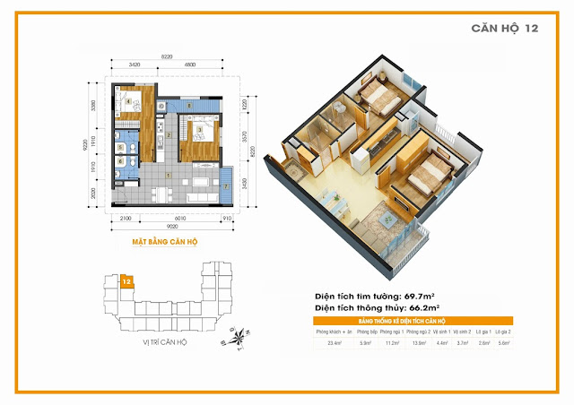 Sơ đồ thiết kế căn hộ Golden An Khánh