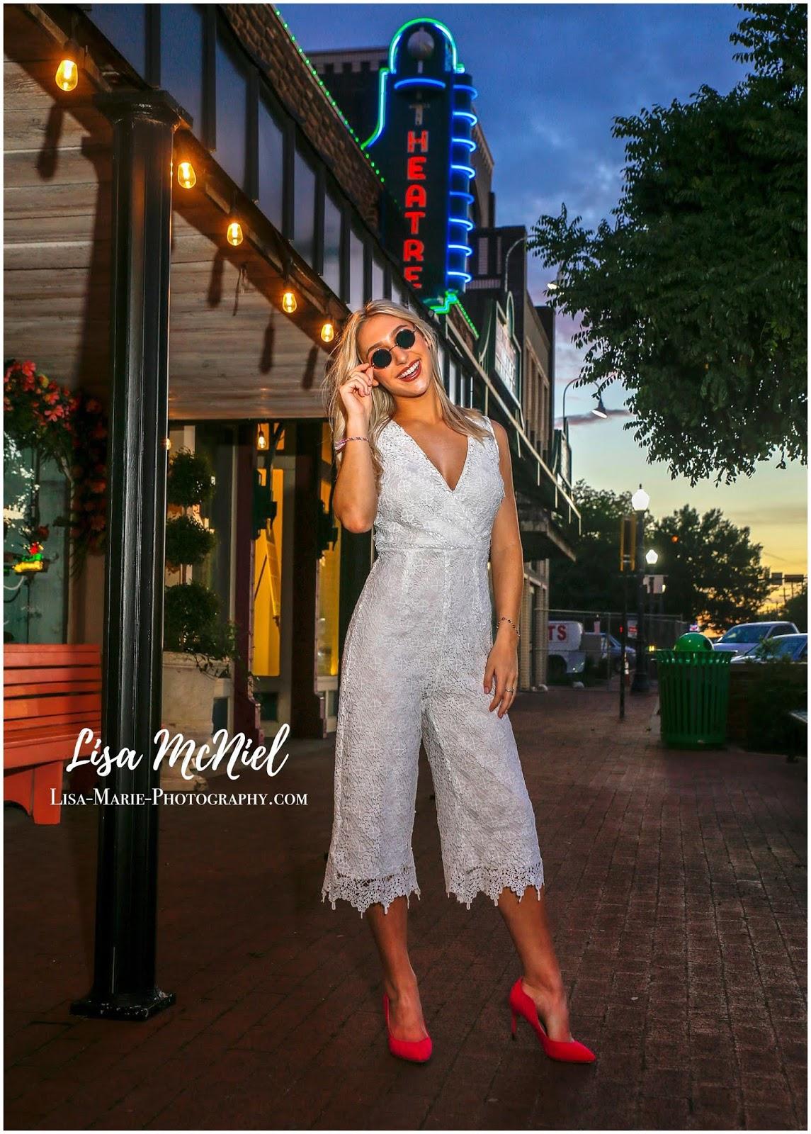 teen girl in vintage town evening