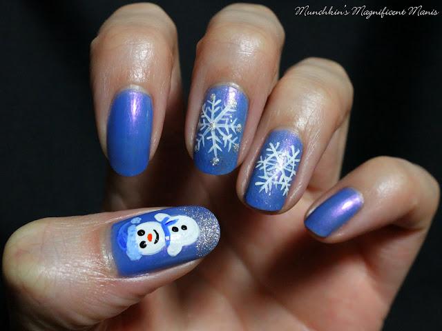 Snowman and Snowflake Nail design